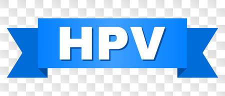 HPV text on a ribbon. Designed with white title and blue tape. Vector banner with HPV tag on a transparent background.
