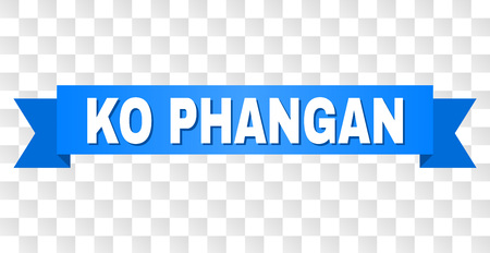 KO PHANGAN text on a ribbon. Designed with white title and blue stripe. Vector banner with KO PHANGAN tag on a transparent background.