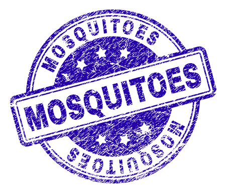 MOSQUITOES stamp seal watermark with distress texture. Designed with rounded rectangles and circles. Blue vector rubber print of MOSQUITOES label with grunge texture.