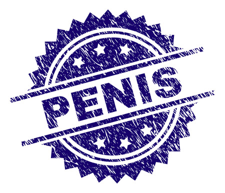 PENIS stamp seal watermark with distress style. Blue vector rubber print of PENIS label with grunge texture.
