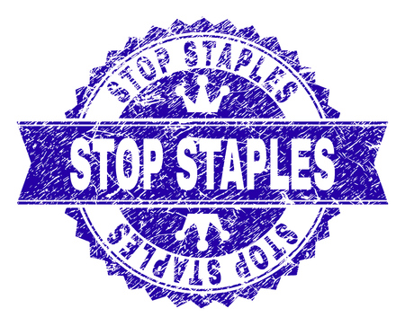 STOP STAPLES rosette stamp seal imitation with grunge style. Designed with round rosette, ribbon and small crowns. Blue vector rubber print of STOP STAPLES text with dirty style.