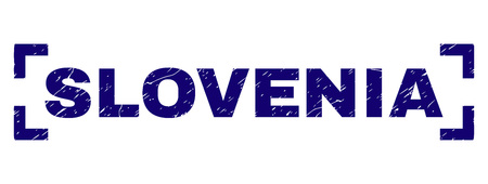 SLOVENIA text seal watermark with distress texture. Text label is placed inside corners. Blue vector rubber print of SLOVENIA with scratched texture. 일러스트