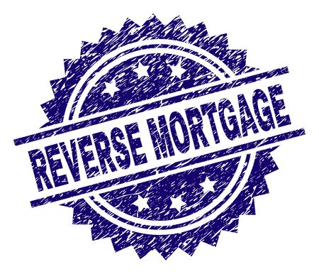 REVERSE MORTGAGE stamp seal watermark with distress style. Blue vector rubber print of REVERSE MORTGAGE tag with scratched texture.