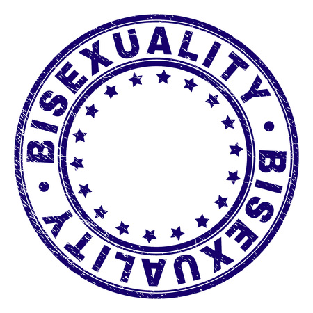BISEXUALITY stamp seal watermark with distress texture. Designed with circles and stars. Blue vector rubber print of BISEXUALITY label with retro texture.