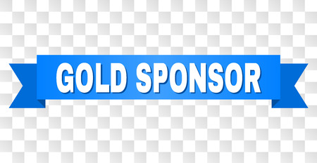 GOLD SPONSOR text on a ribbon. Designed with white title and blue tape. Vector banner with GOLD SPONSOR tag on a transparent background.