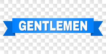 GENTLEMEN text on a ribbon. Designed with white title and blue tape. Vector banner with GENTLEMEN tag on a transparent background.  イラスト・ベクター素材