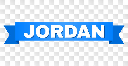 JORDAN text on a ribbon. Designed with white caption and blue tape. Vector banner with JORDAN tag on a transparent background.