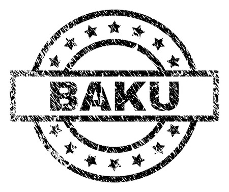 BAKU stamp seal watermark with distress style. Designed with rectangle, circles and stars. Black vector rubber print of BAKU label with corroded texture.