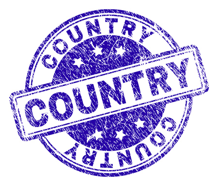 COUNTRY stamp seal watermark with grunge effect. Designed with rounded rectangles and circles. Blue vector rubber print of COUNTRY title with retro texture. Illustration