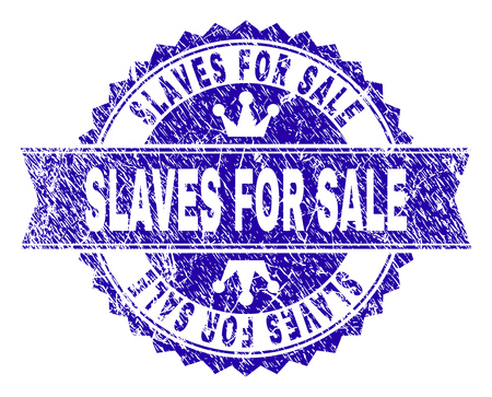 SLAVES FOR SALE rosette stamp seal watermark with distress style. Designed with round rosette, ribbon and small crowns. Blue vector rubber watermark of SLAVES FOR SALE title with unclean style.