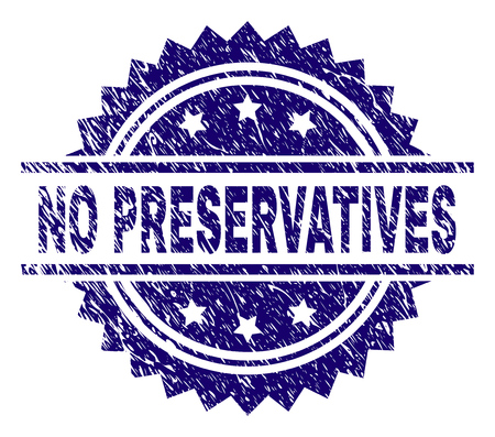 NO PRESERVATIVES stamp seal watermark with distress style. Blue vector rubber print of NO PRESERVATIVES label with corroded texture. Stok Fotoğraf - 125639556