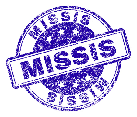 MISSIS stamp seal imprint with grunge texture. Designed with rounded rectangles and circles. Blue vector rubber print of MISSIS title with corroded texture.