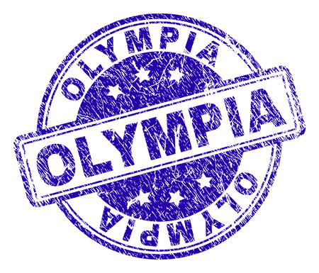 OLYMPIA stamp seal watermark with distress texture. Designed with rounded rectangles and circles. Blue vector rubber print of OLYMPIA title with dust texture.