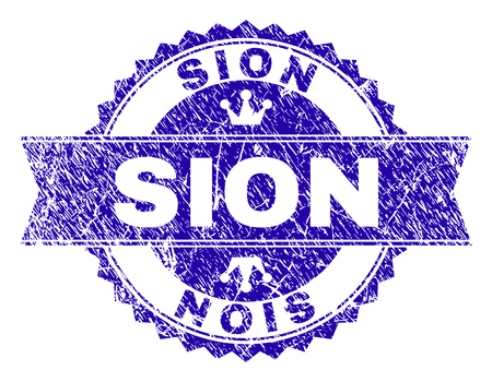 SION rosette stamp imprint with grunge texture. Designed with round rosette, ribbon and small crowns. Blue vector rubber watermark of SION title with dirty texture. Illustration