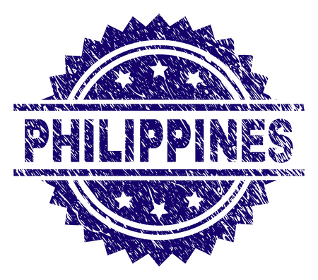 Filigrane de sceau de timbre PHILIPPINES avec style de détresse. Impression en caoutchouc de vecteur bleu de tag PHILIPPINES avec texture grunge. Vecteurs