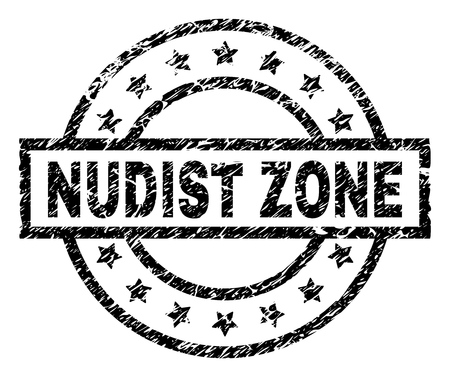 NUDIST ZONE stamp seal watermark with distress style. Designed with rectangle, circles and stars. Black vector rubber print of NUDIST ZONE label with dust texture. Banque d'images - 116262797