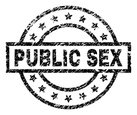 PUBLIC SEX stamp seal watermark with distress style. Designed with rectangle, circles and stars. Black vector rubber print of PUBLIC SEX label with dirty texture.