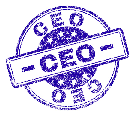 CEO stamp seal imprint with grunge texture. Designed with rounded rectangles and circles. Blue vector rubber print of CEO title with grunge texture.  イラスト・ベクター素材