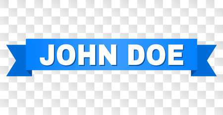 JOHN DOE text on a ribbon. Designed with white title and blue stripe. Vector banner with JOHN DOE tag on a transparent background. Vettoriali