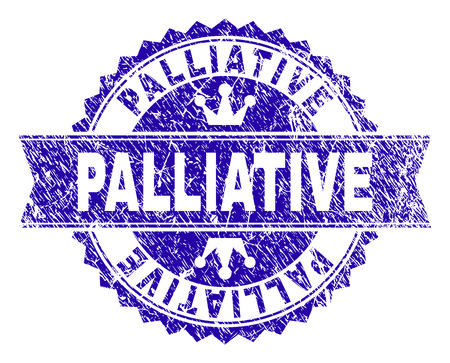 PALLIATIVE rosette stamp overlay with distress texture. Designed with round rosette, ribbon and small crowns. Blue vector rubber print of PALLIATIVE caption with grunge texture.