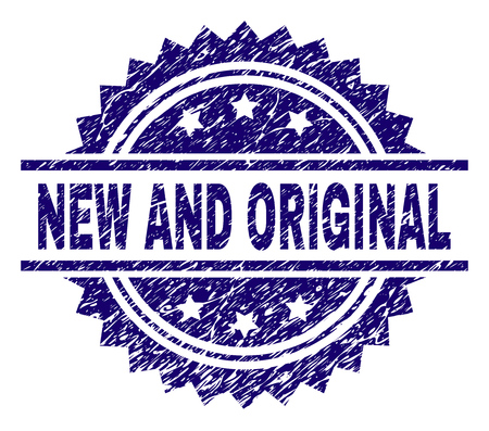 NEW AND ORIGINAL stamp seal watermark with distress style. Blue vector rubber print of NEW AND ORIGINAL text with dirty texture.