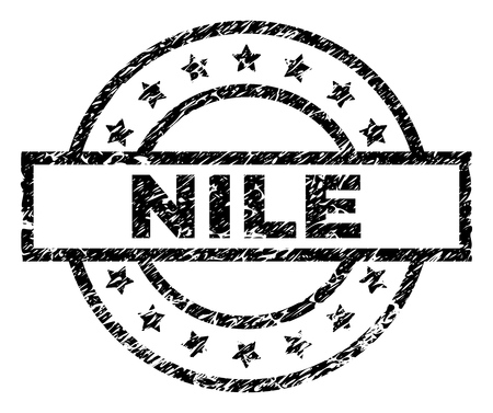 NILE stamp seal watermark with distress style. Designed with rectangle, circles and stars. Black vector rubber print of NILE label with retro texture.