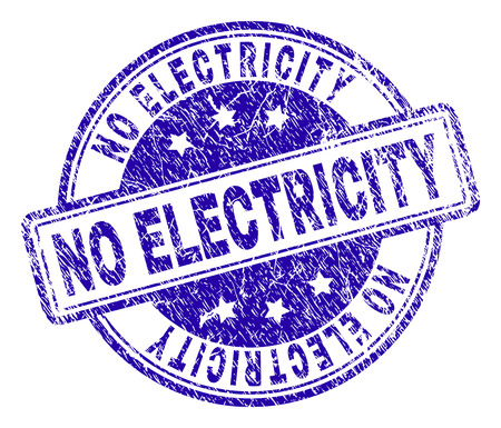 NO ELECTRICITY stamp seal imprint with grunge texture. Designed with rounded rectangles and circles. Blue vector rubber print of NO ELECTRICITY caption with retro texture.