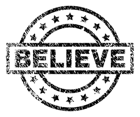 BELIEVE stamp seal watermark with distress style. Designed with rectangle, circles and stars. Black vector rubber print of BELIEVE tag with unclean texture.