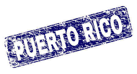 PUERTO RICO stamp seal imprint with grunge style. Seal shape is a rounded rectangle with frame. Blue vector rubber print of PUERTO RICO label with grunge style.