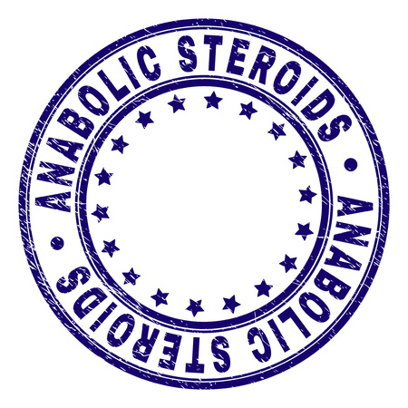 ANABOLIC STEROIDS stamp seal watermark with distress texture. Designed with round shapes and stars. Blue vector rubber print of ANABOLIC STEROIDS tag with dirty texture.