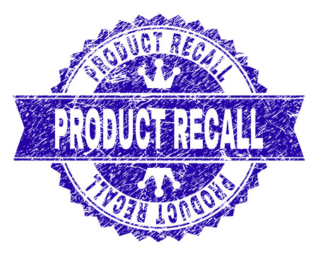 PRODUCT RECALL rosette seal watermark with distress effect. Designed with round rosette, ribbon and small crowns. Blue vector rubber watermark of PRODUCT RECALL caption with corroded texture.