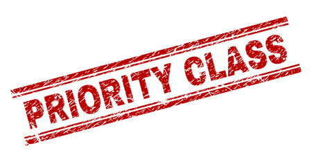 PRIORITY CLASS seal print with corroded texture. Red vector rubber print of PRIORITY CLASS label with dust texture. Text label is placed between double parallel lines.