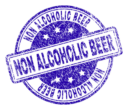 NON ALCOHOLIC BEER stamp seal imprint with grunge style. Designed with rounded rectangles and circles. Blue vector rubber print of NON ALCOHOLIC BEER title with grunge texture.