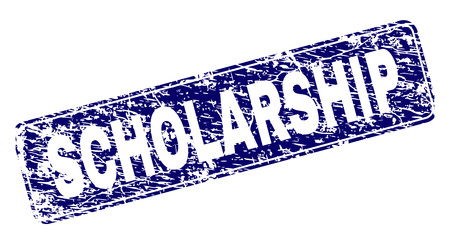 SCHOLARSHIP stamp seal print with grunge style. Seal shape is a rounded rectangle with frame. Blue vector rubber print of SCHOLARSHIP caption with dust style.