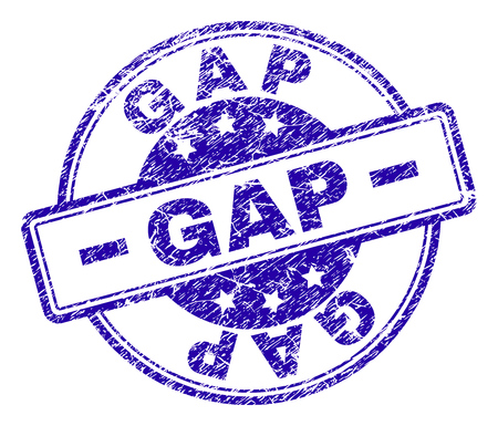 GAP stamp seal watermark with grunge style. Designed with rounded rectangles and circles. Blue vector rubber print of GAP text with grunge texture.