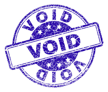 VOID stamp seal imprint with grunge effect. Designed with rounded rectangles and circles. Blue vector rubber print of VOID caption with grunge texture.
