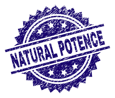 NATURAL POTENCE stamp seal watermark with distress style. Blue vector rubber print of NATURAL POTENCE text with dirty texture.