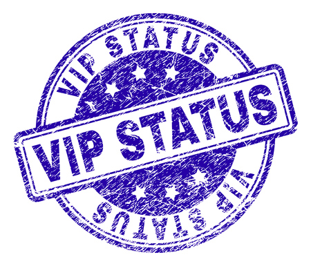 VIP STATUS stamp seal watermark with grunge texture. Designed with rounded rectangles and circles. Blue vector rubber print of VIP STATUS caption with grunge texture. 일러스트