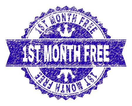 1ST MONTH FREE rosette seal imprint with grunge texture. Designed with round rosette, ribbon and small crowns. Blue vector rubber watermark of 1ST MONTH FREE text with dirty texture. Banque d'images - 125640174