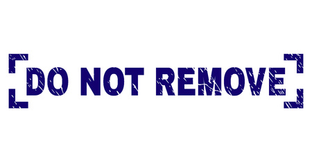 DO NOT REMOVE title seal print with grunge texture. Text label is placed between corners. Blue vector rubber print of DO NOT REMOVE with scratched texture.