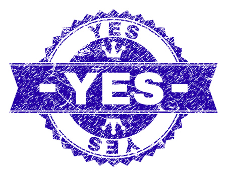 YES rosette seal watermark with distress texture. Designed with round rosette, ribbon and small crowns. Blue vector rubber watermark of YES label with retro texture.
