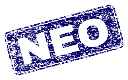NEO stamp seal print with grunge texture. Seal shape is a rounded rectangle with frame. Blue vector rubber print of NEO tag with grunge style.