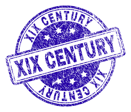XIX CENTURY stamp seal imprint with distress texture. Designed with rounded rectangles and circles. Blue vector rubber print of XIX CENTURY tag with retro texture.