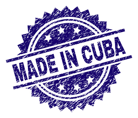 MADE IN CUBA stamp seal watermark with distress style. Blue vector rubber print of MADE IN CUBA tag with retro texture.