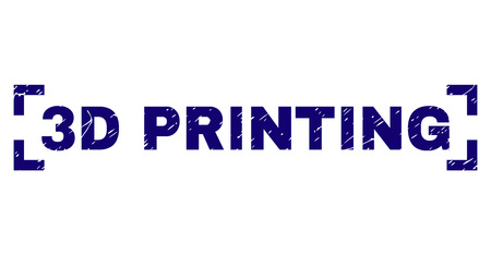 3D PRINTING label seal print with distress texture. Text label is placed between corners. Blue vector rubber print of 3D PRINTING with dirty texture. Illustration