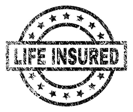 LIFE INSURED stamp seal watermark with distress style. Designed with rectangle, circles and stars. Black vector rubber print of LIFE INSURED caption with dust texture.