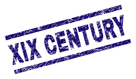XIX CENTURY seal print with scratced style. Blue vector rubber print of XIX CENTURY label with scratched texture. Text title is placed between parallel lines.