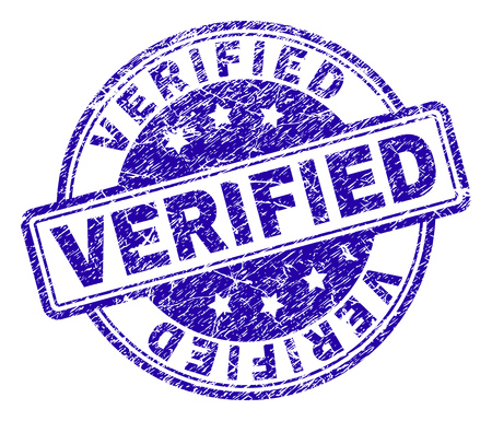 VERIFIED stamp seal imprint with grunge effect. Designed with rounded rectangles and circles. Blue vector rubber print of VERIFIED caption with dirty texture. Illustration