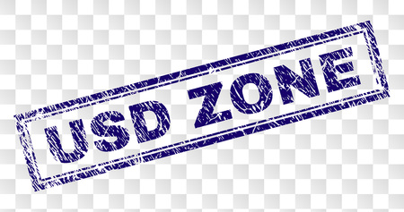 USD ZONE stamp seal print with scratched style and double framed rectangle shape. Stamp is placed on a transparent background. Blue vector rubber print of USD ZONE tag with scratched texture.