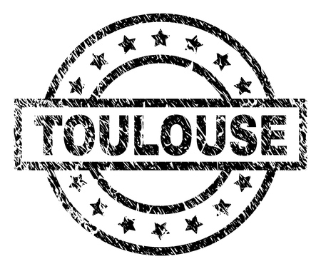 TOULOUSE stamp seal watermark with distress style. Designed with rectangle, circles and stars. Black vector rubber print of TOULOUSE tag with dirty texture.